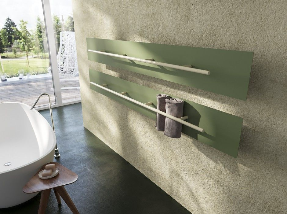 Teso modern radiator towel rack green color