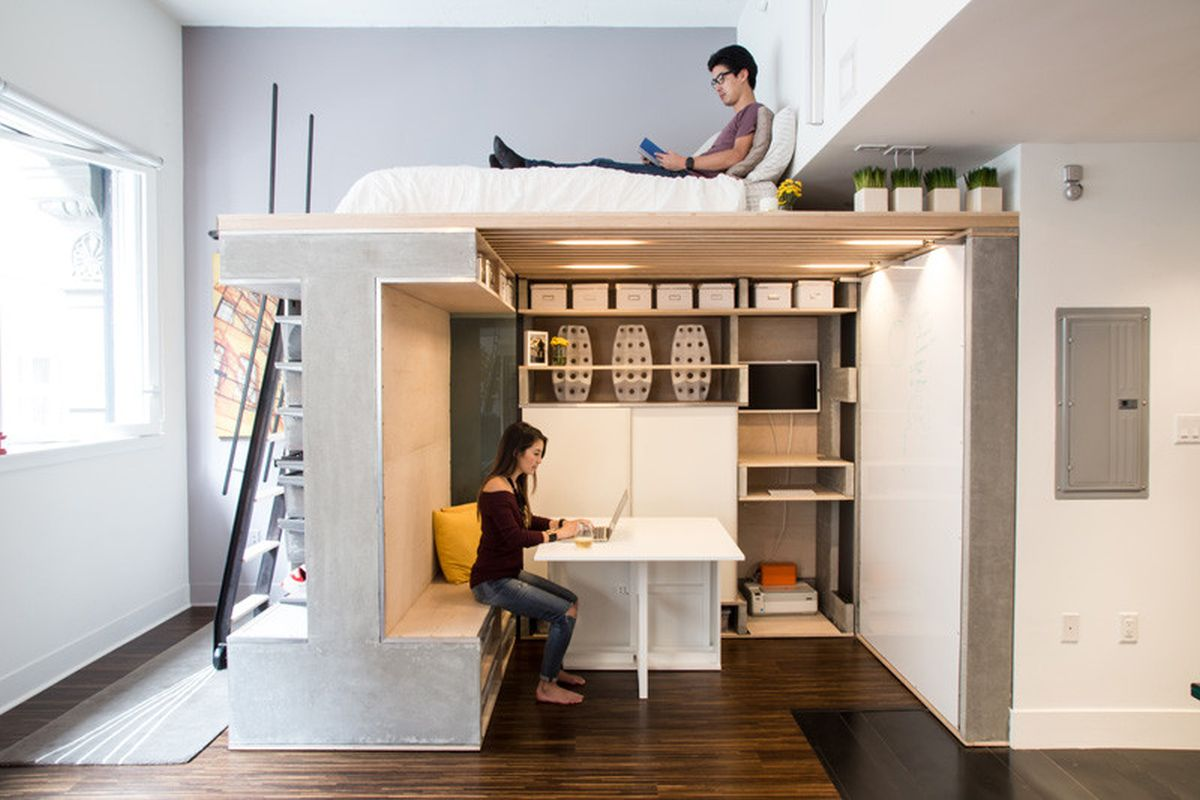 Small loft designed as a multifunctional and modern space for Kleine esstische design