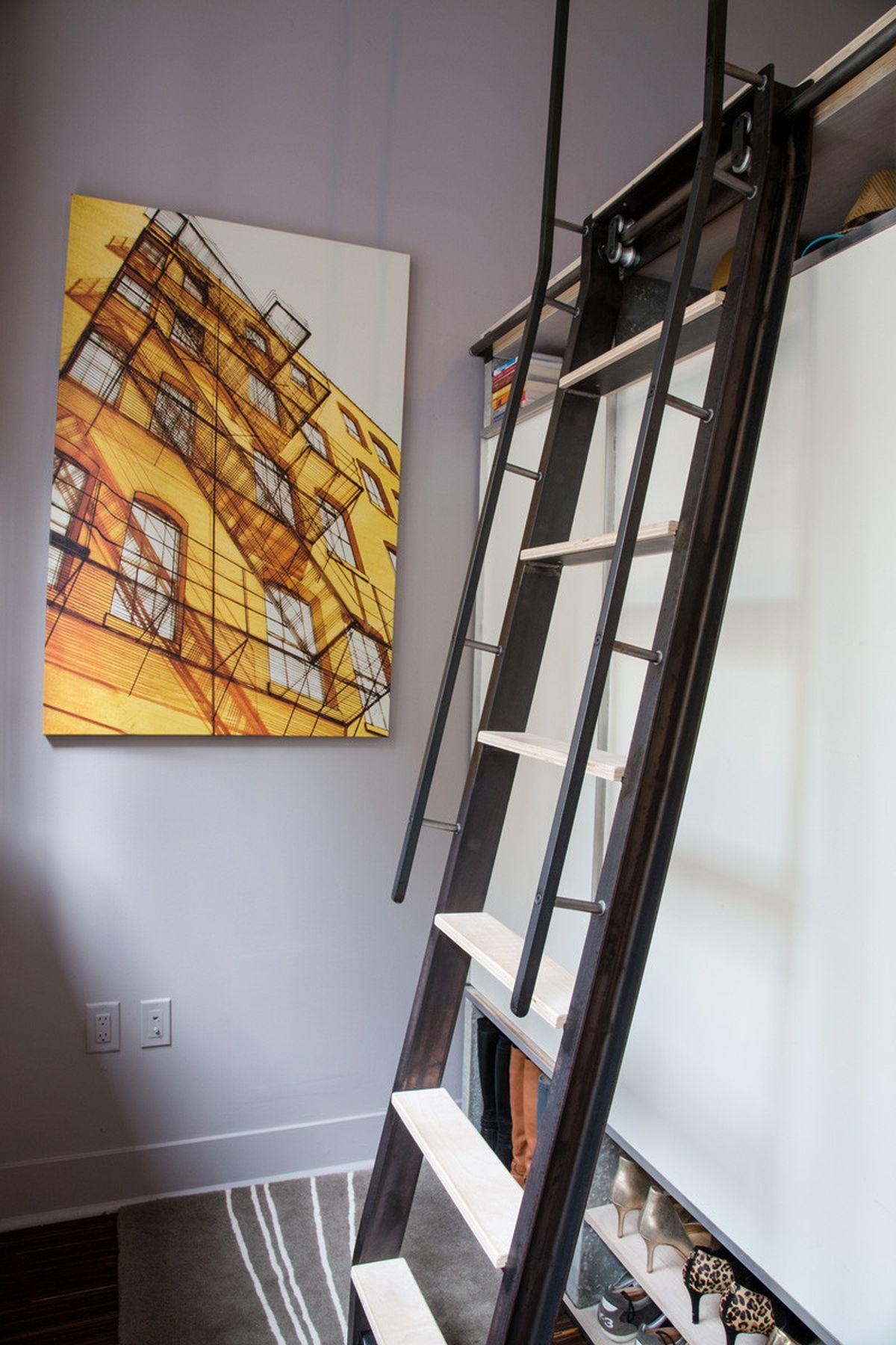 The Domino Loft ladder with storage behind