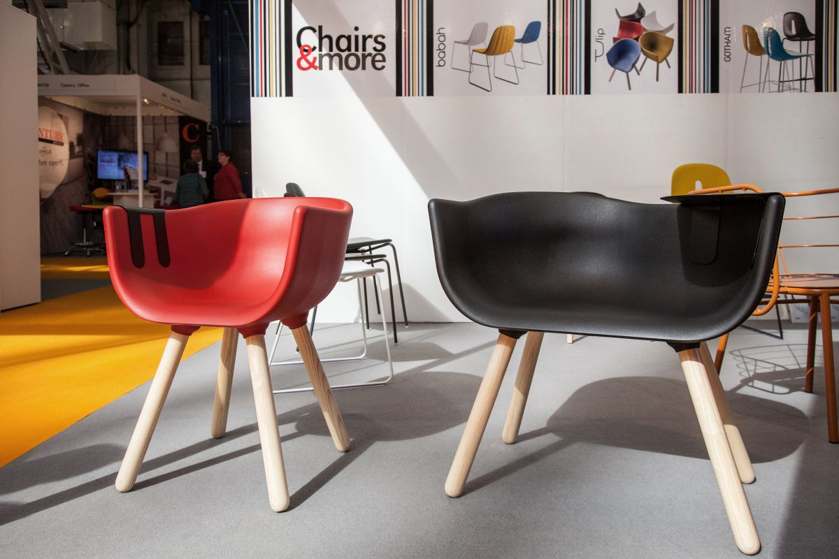 Tulip black and red chairs