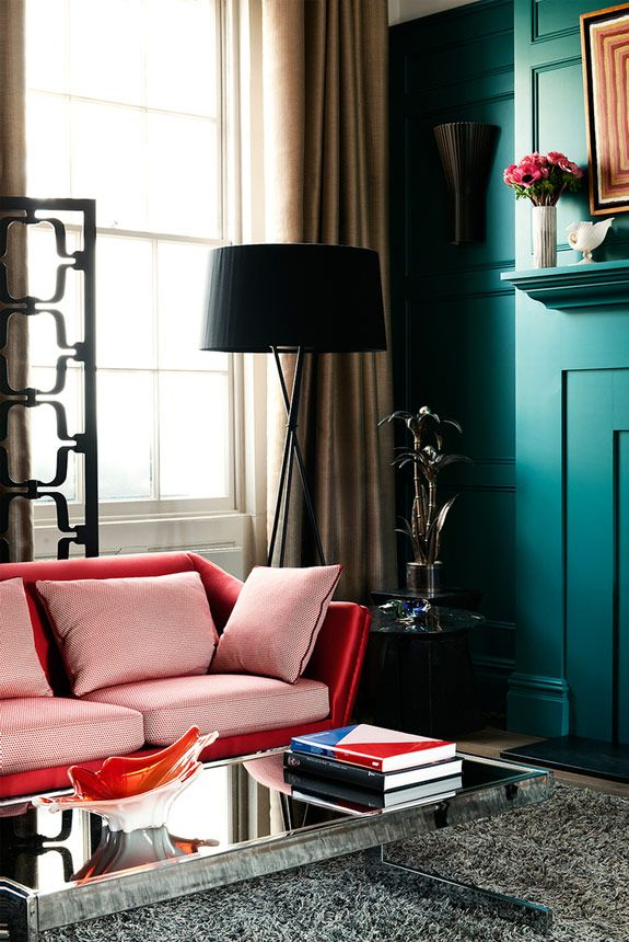 Turquoise Walls And Deep Red Sofa