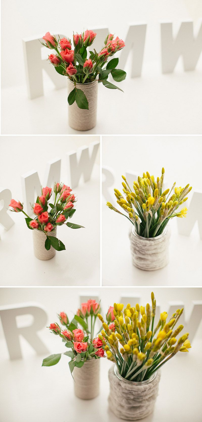 Twine and cans vases