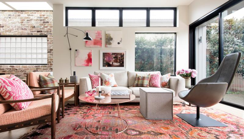 Ultra feminine living room with pink accents