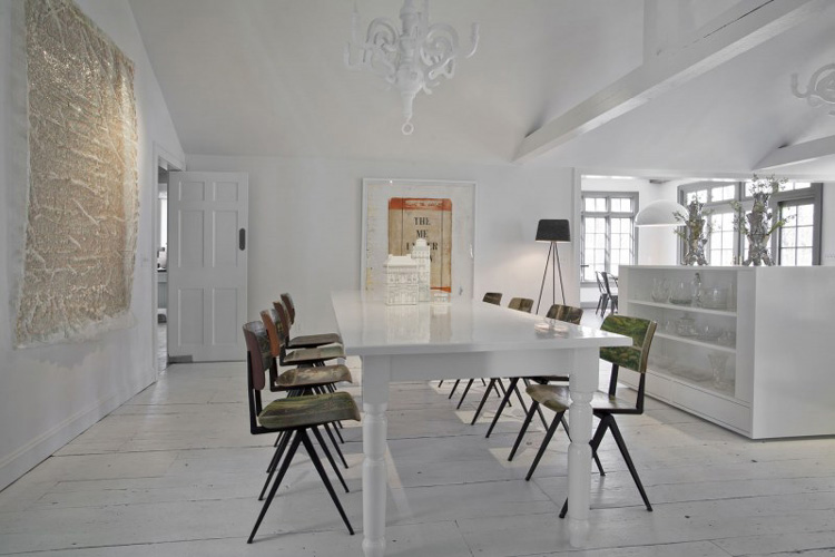 White and clean dining room area