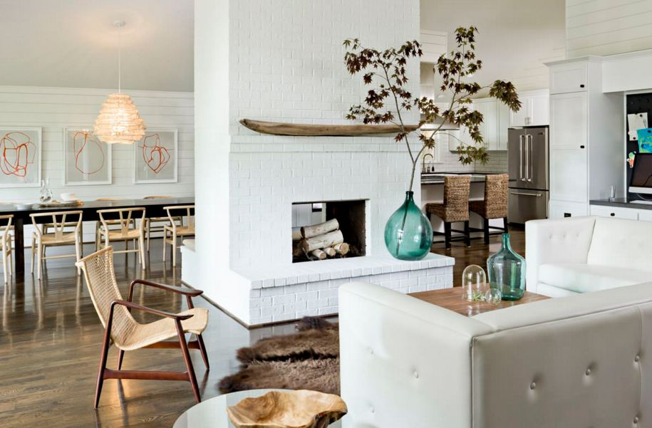 A central fireplace can stand out and blend in at the same time