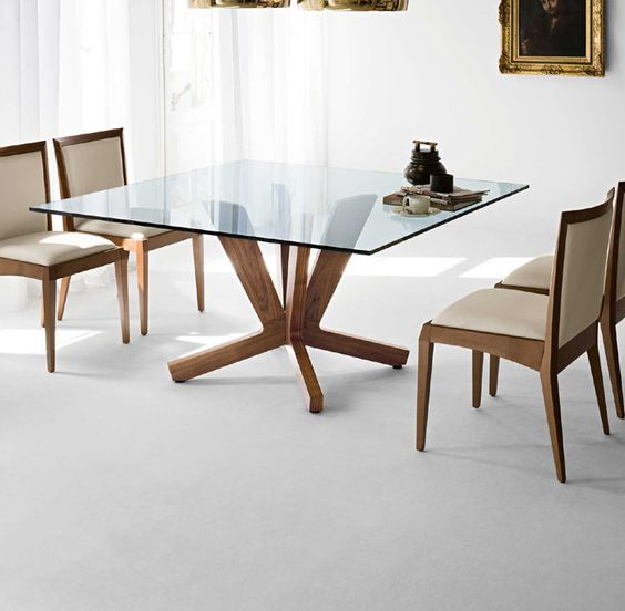 wood base and glass top for a square table - Square Wood Dining Table