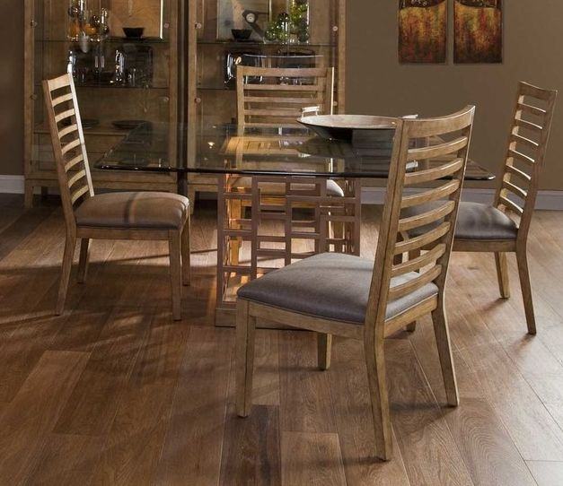 Wood pattern Square Glass Top Dining Table