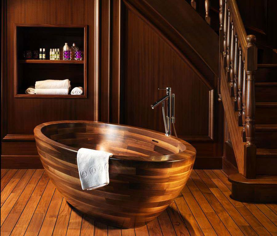 Poland's Unique Wood Design created these luxurious wooden bathtubs. The company started in business building wooden boats and yachts, allowing them to develop expert carpentry and boat building skills.