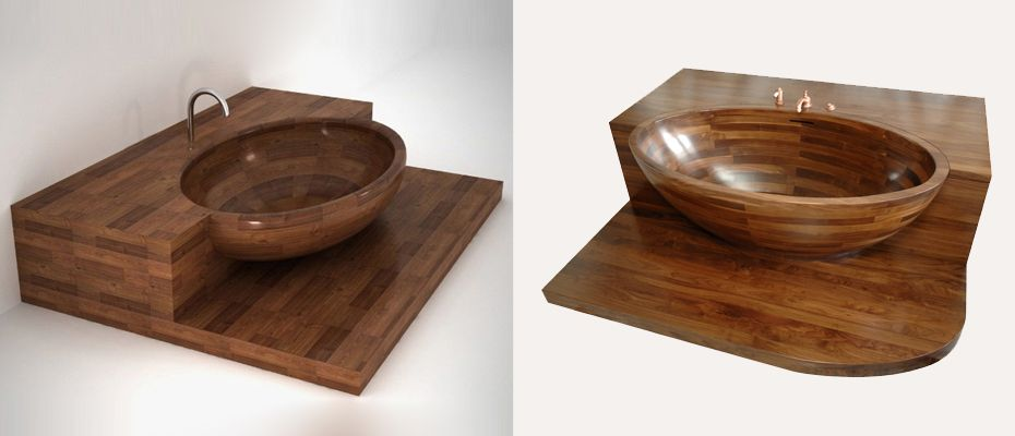 Unique Wood Design's Vanala custom wooden bathtub offers not only a beautiful tub, but also the surround in the same wood. Tis provides a great deal of counter space, more like many large built-in standard bathtubs -- bot with the beauty of wood.