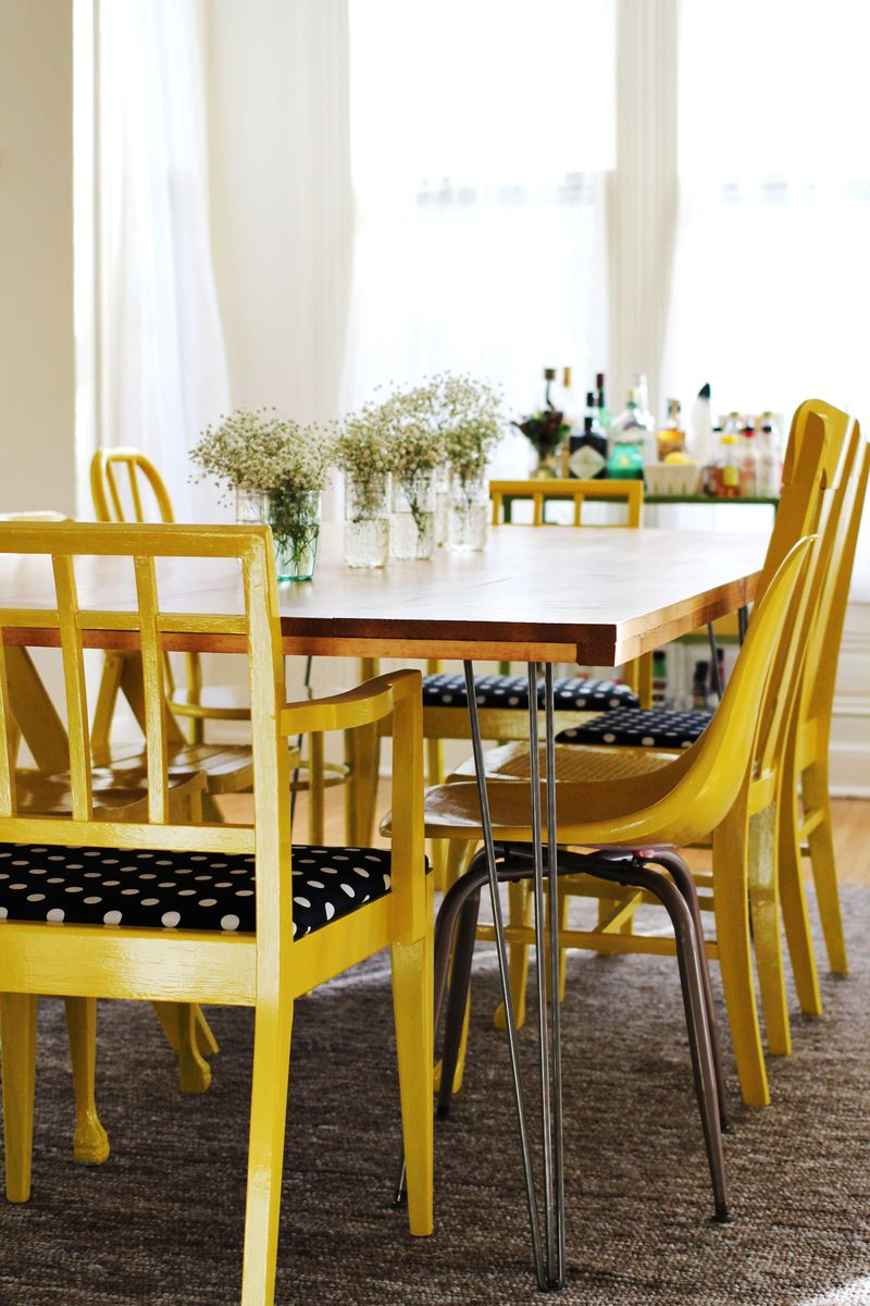 Yellow Dining room accents