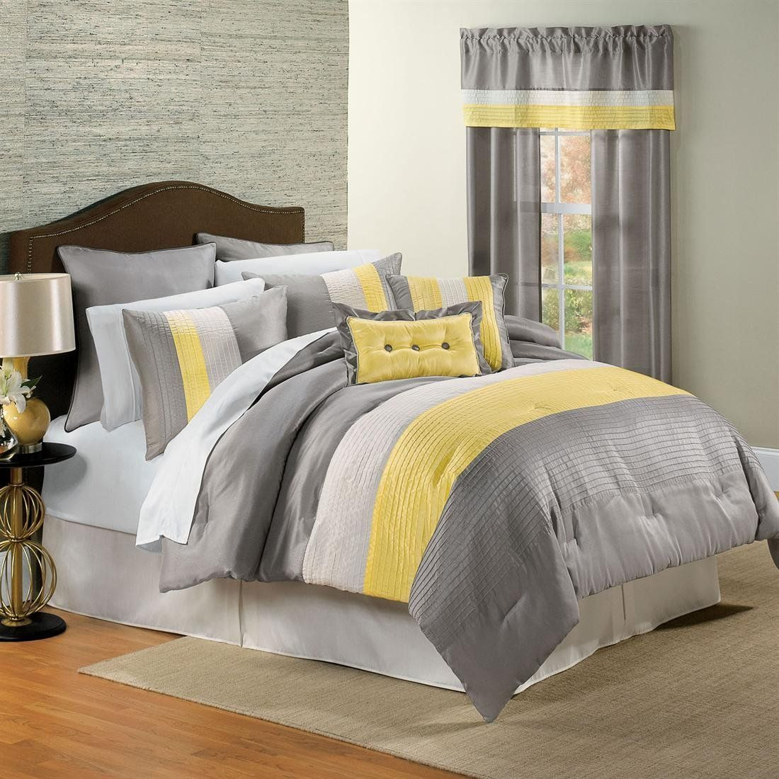 Room Design Yellow Gray Bedding Set