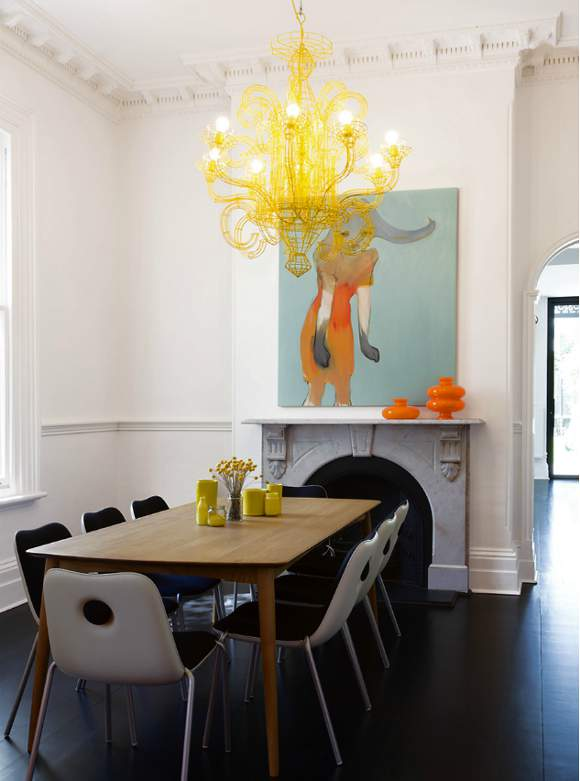 Standard chandelier height over dining table home design ideas yellow chandelier over dining table and art above fireplace aloadofball Images