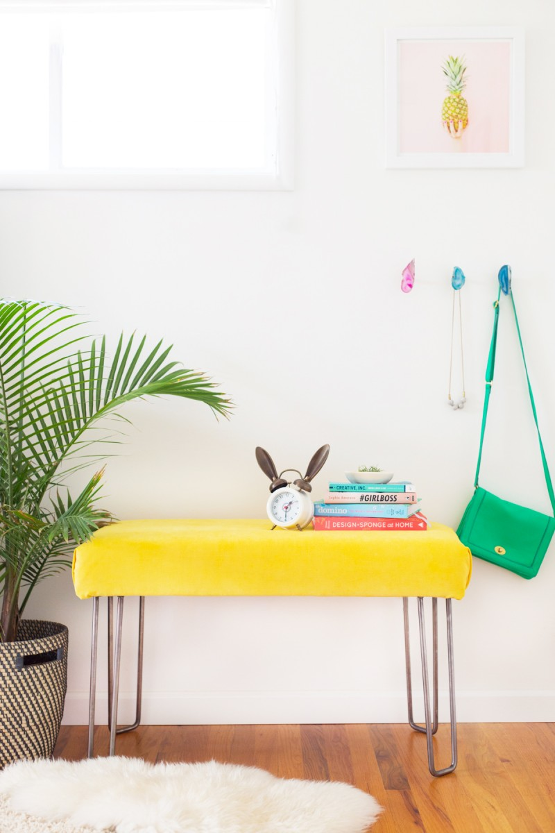 Yellow velvet bench with hairpin legs