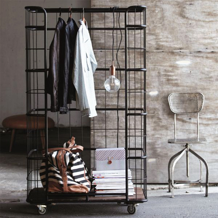 industrial-looking coat clothes rack