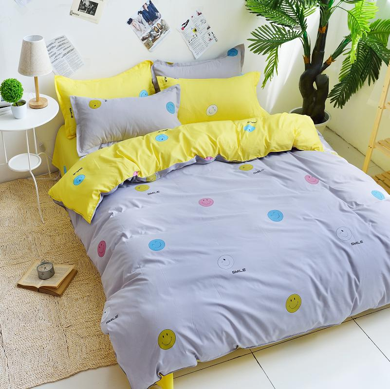 yellow with shades of grey bedding