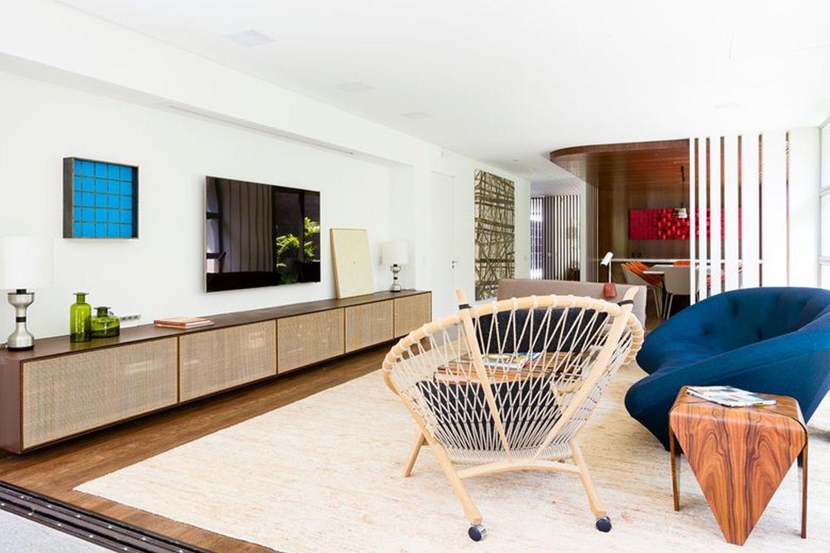 AA House circle chair near sofa