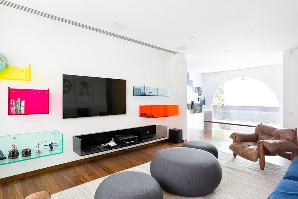 AA House poufs in lounge area