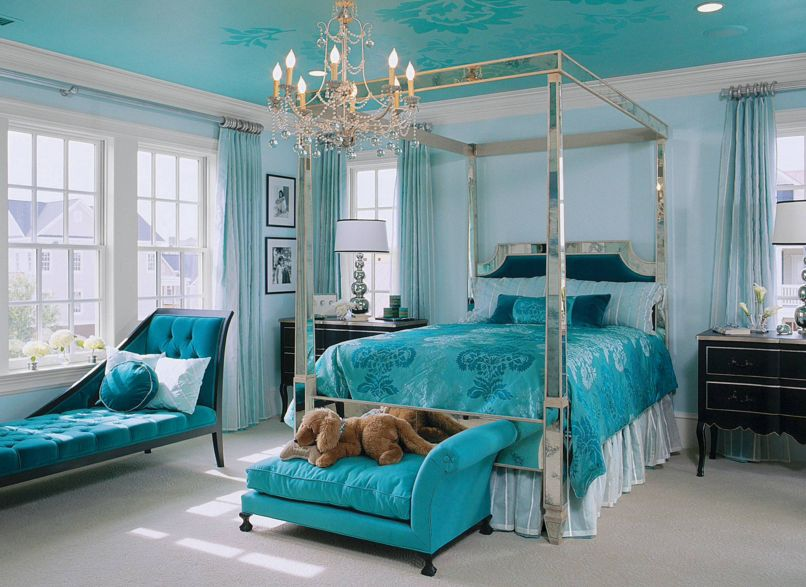 homey inspiration teal and brown bedroom ideas. Aqua bedroom design with a mirrored frame 40 Bedroom Paint Ideas To Refresh Your Space for Spring
