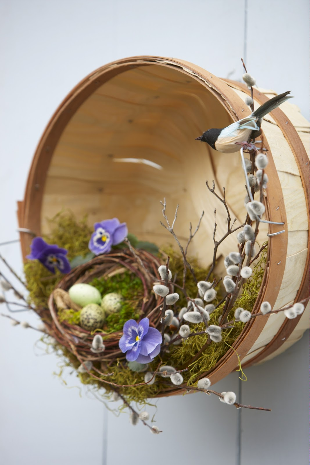 Basket on front door for Spring