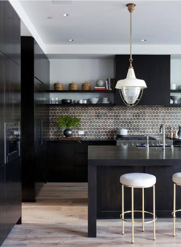Black kitchen design with a beautiful mosaic backsplash