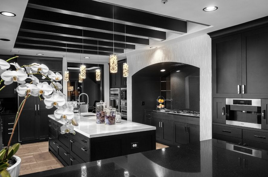 Black Kitchen Design With A Quartz Countertop For Island