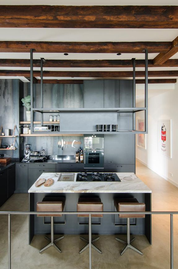 Black kitchen design with an industrial vibe