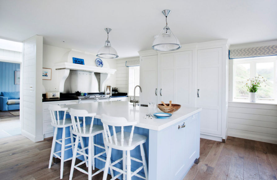 Blue And White Kitchen Design With A Sea Themed
