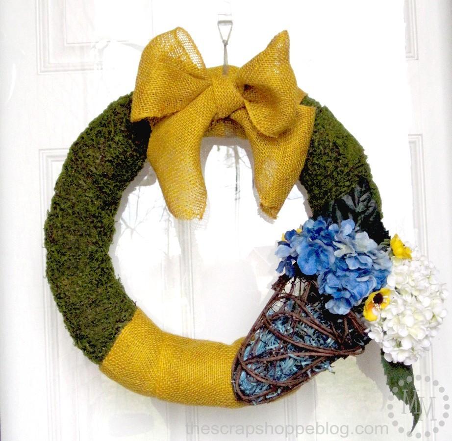 Burlap Moss Spring Wreath