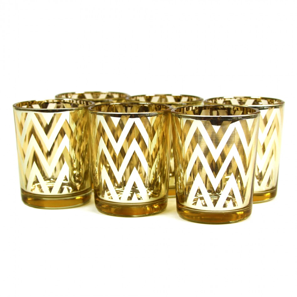 Candle votives with a chevron design