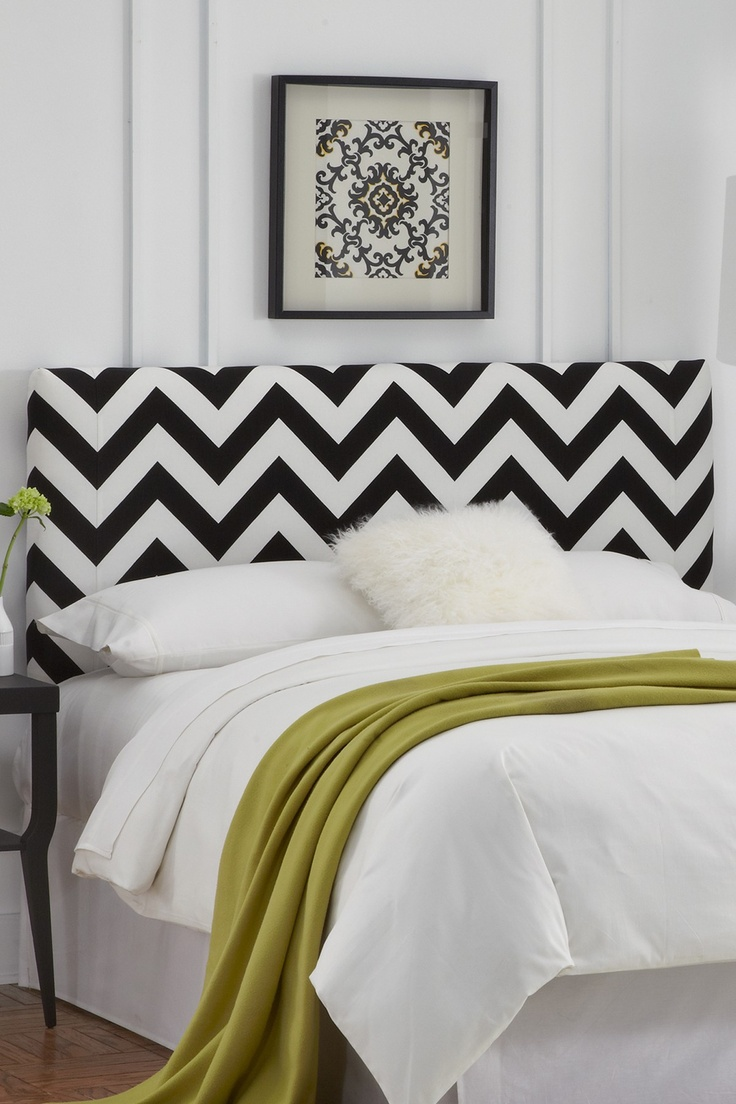 Chevron black and white headboard