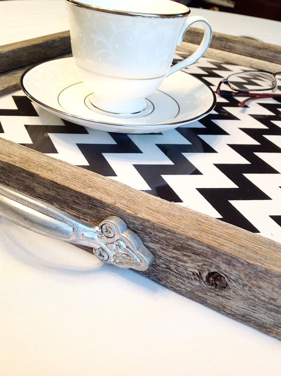 Chevron coffee table trays