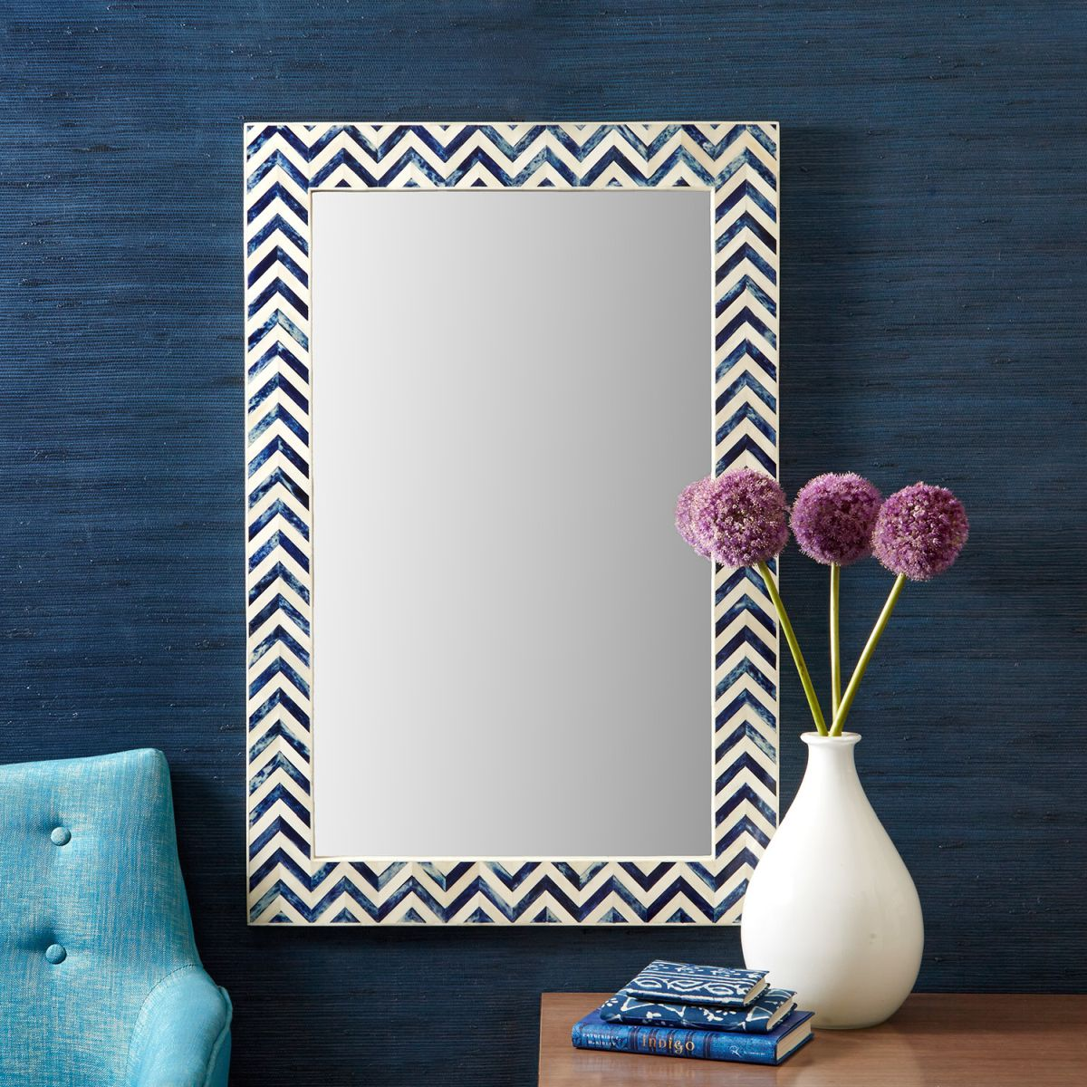 Chevron frame for mirror