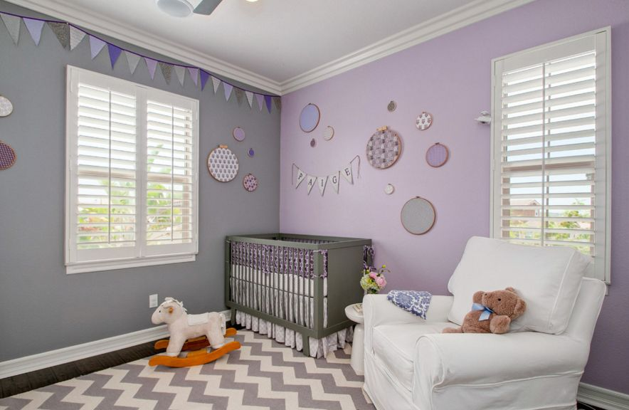 Chevron rug and lavender walls for nursery