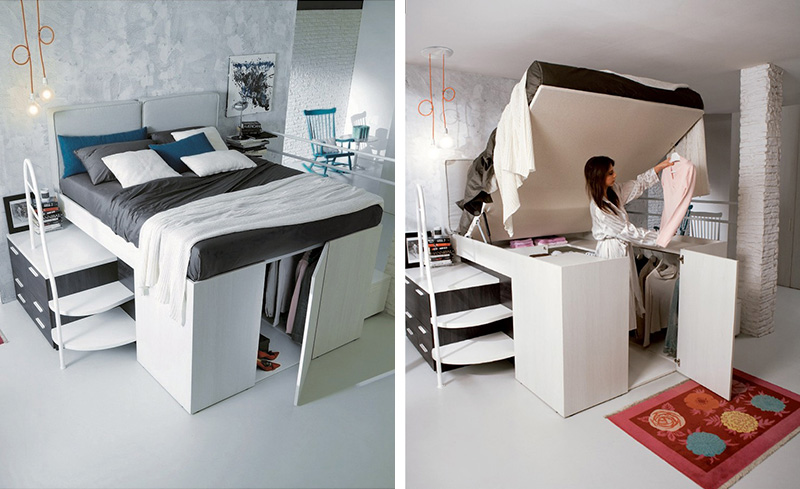 Closet hidden under bed & Clever Bed Designs With Integrated Storage For Max Efficiency