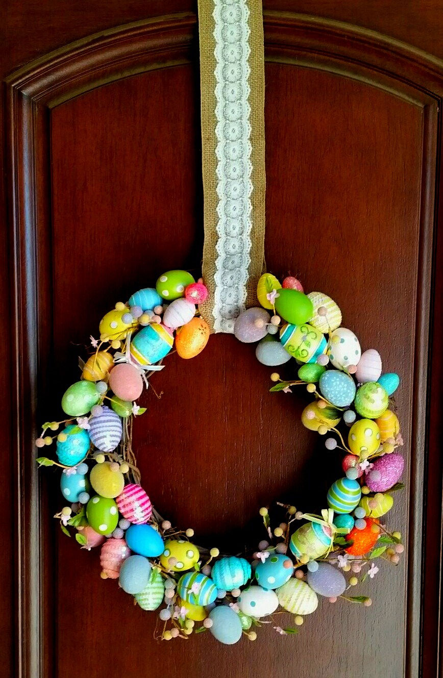Colorful easter eggs wreath