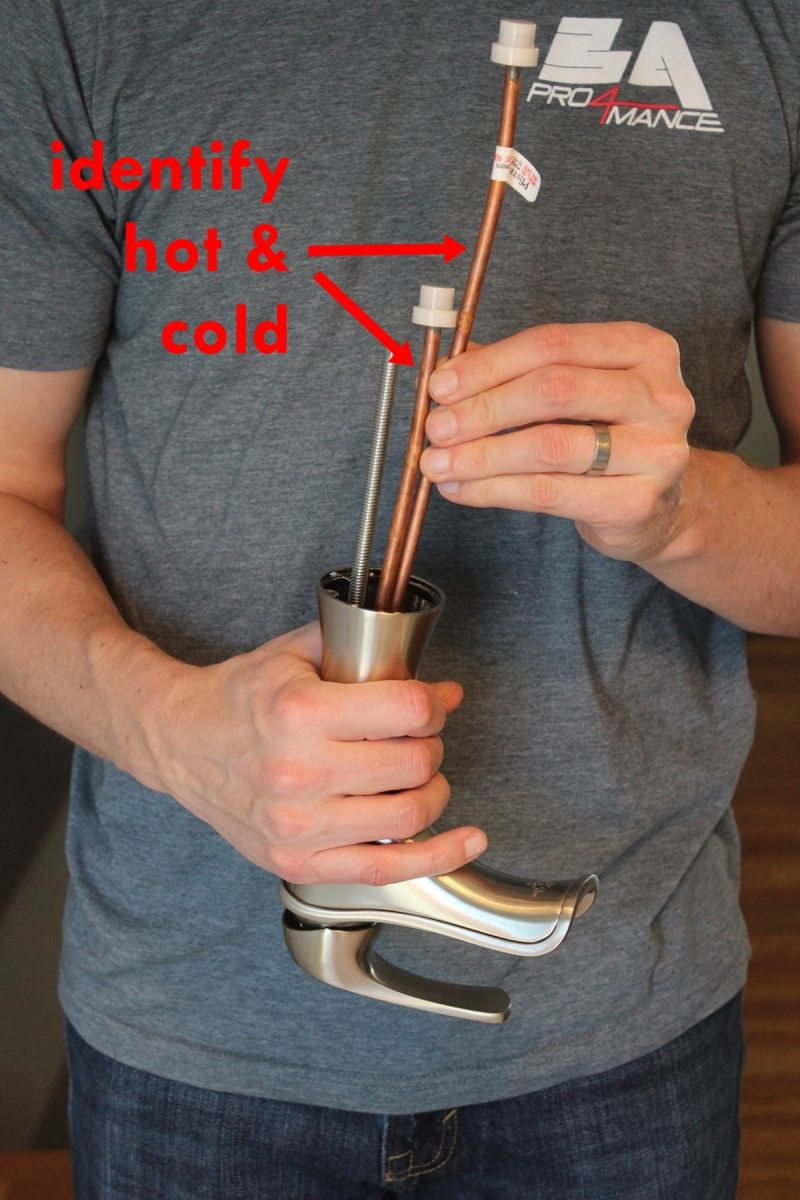 Copper tube with hot and cold water