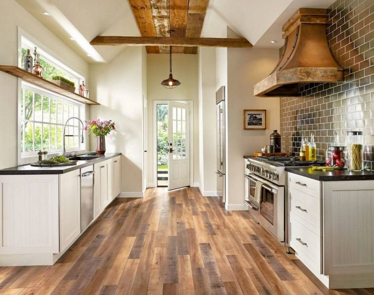 20 everyday wood laminate flooring inside your home for Country kitchen floor ideas