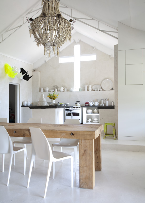 Cross shaped window above the kitchen