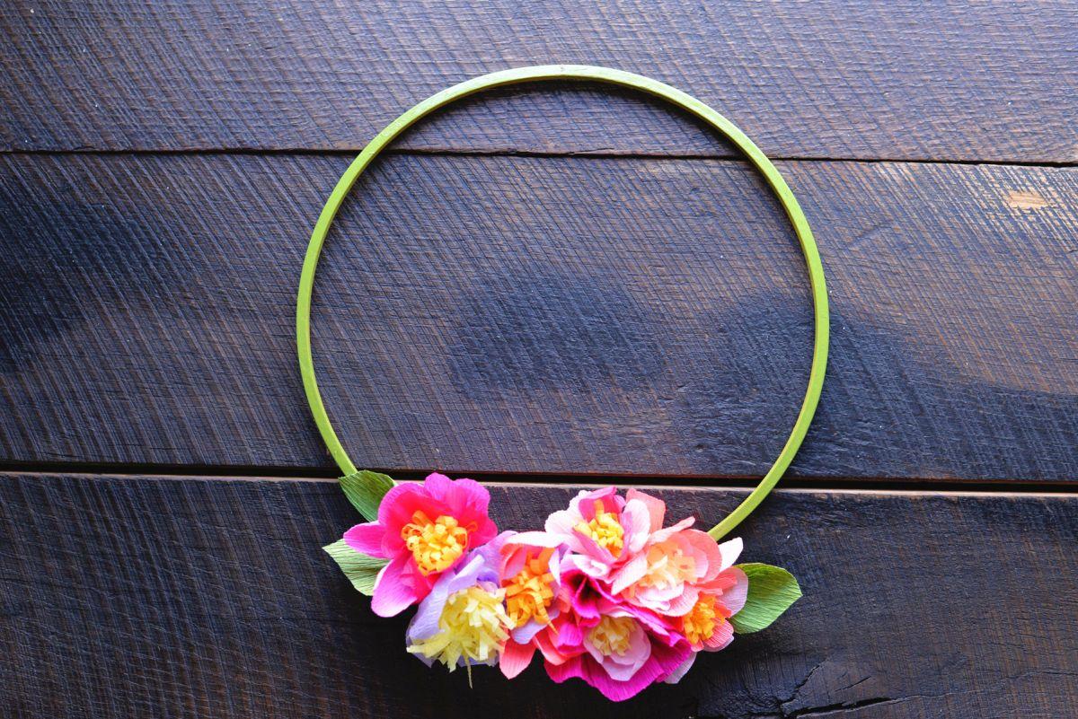 Diy Crepe Paper Floral Spring Wreath