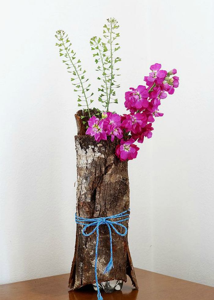 DIY bark vase