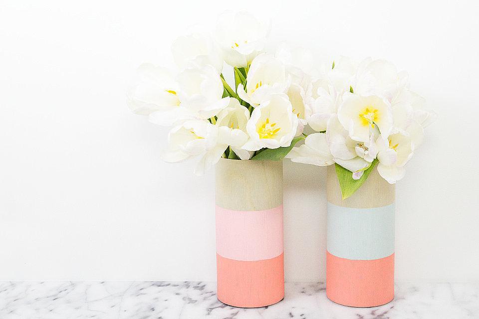 DIY colorblock vases