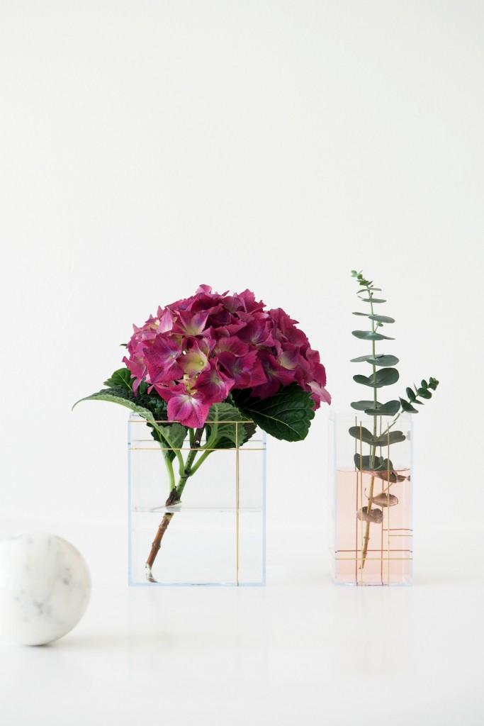 DIY grid sticker vases