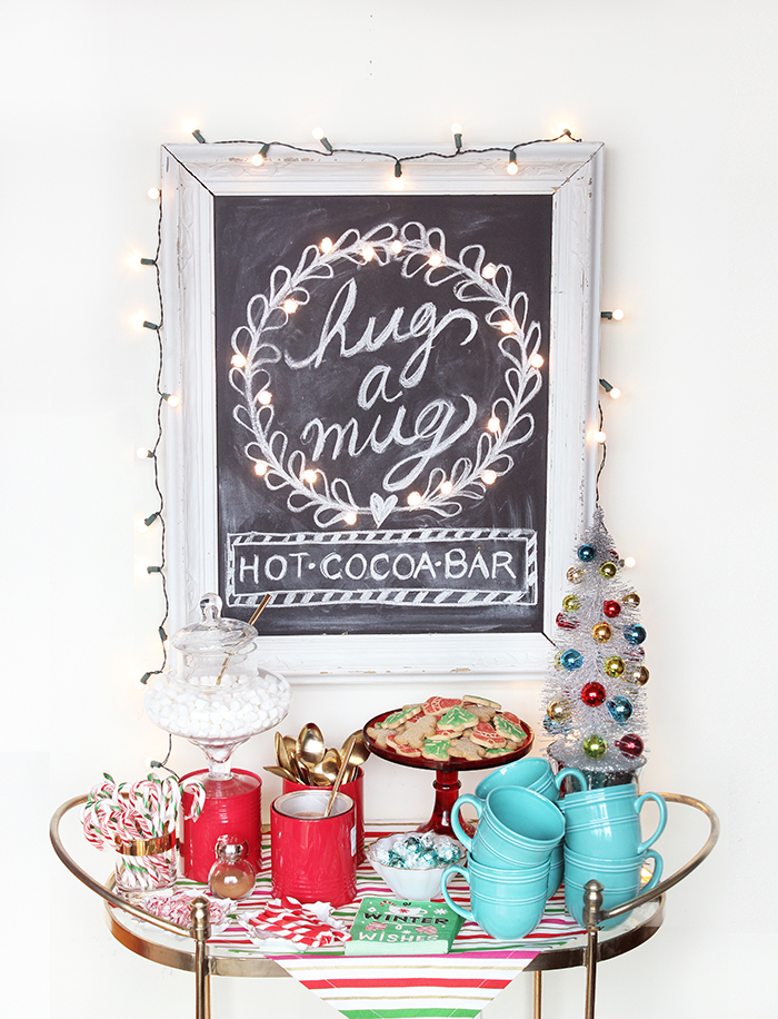 DIY hot chocolate bar with framed chalkboard
