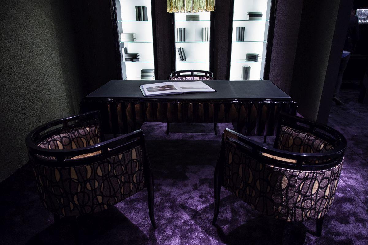Dark designed workspace area