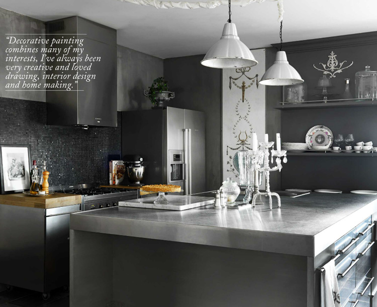 Dark neutral color palette for kitchen