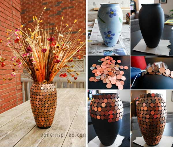 Decorate a flower vase with pennies