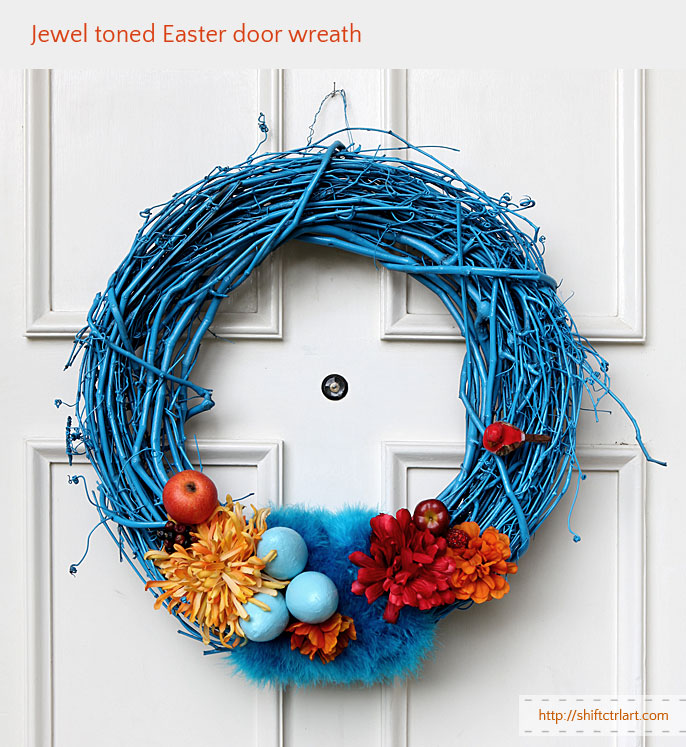 Egg and feather goes together - jewel toned Easter door wreath