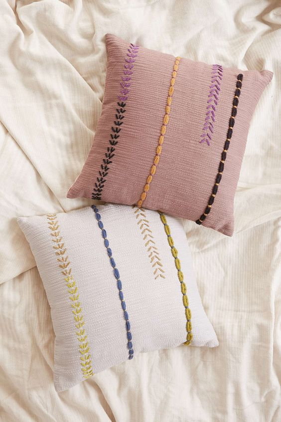 Embroidered lines throw pillow