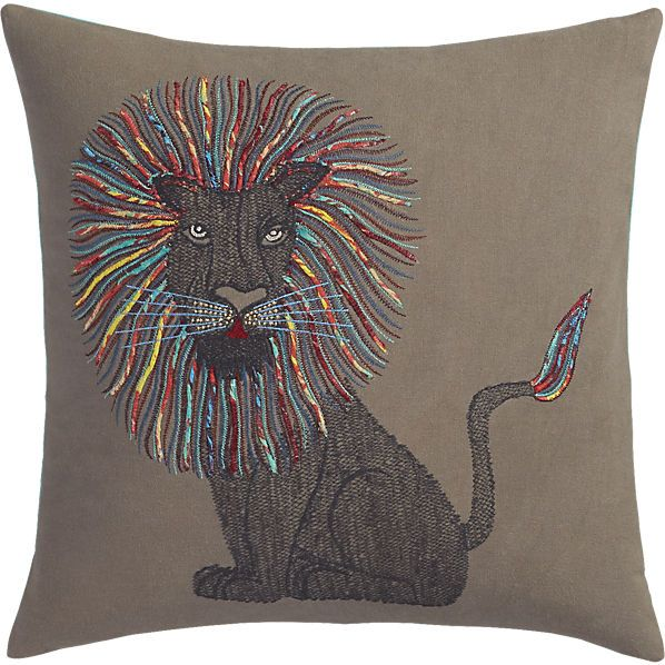 Embroidered lion throw pillow