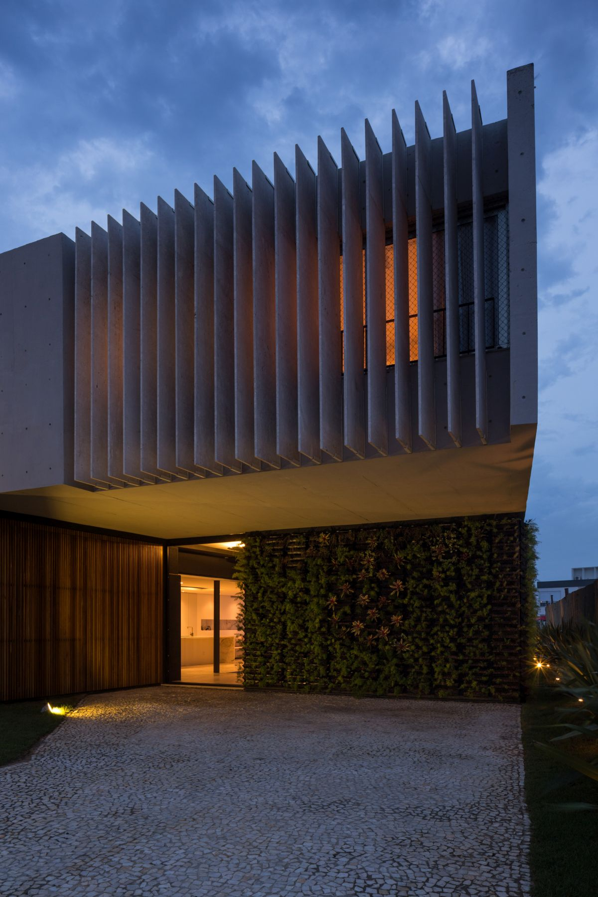 Enseada House in Brazil entrance at sunset